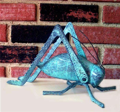 Large Brass Verdigris Cricket ~ Fireplace Crickets on the Hearth