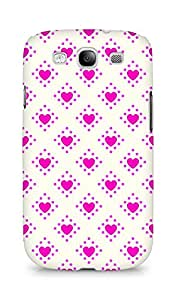 Amez designer printed 3d premium high quality back case cover for Samsung Galaxy S3 i9300 (Romantic Pink n White Color Hearts2)