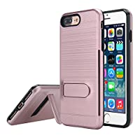 iPhone 7 Plus Case, MCUK [Brushed Metal Texture] Dual Layer Hybrid Defender Shockproof Rubber Bumper Case Cover with Card Slot & Kickstand for Apple iPhone 7 Plus (2016) from clear armor wallet edge black pink hybrid air waterproof hybrid leather rugged a