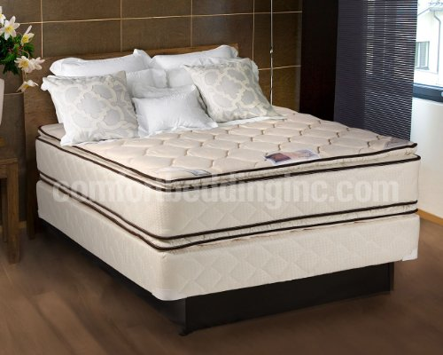 Cheap coil comfort pillowtop queen size mattress and box spring set home kitchen Queen mattress cheap