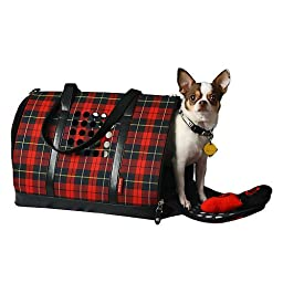 Bark-n-Bag Carrier One Collection Pet Carrier, Plaid