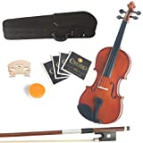 Mendini 16-Inch MA250 Natural Finish Solid Wood Viola + Hard Case, Bow, Rosin, 2 Bridges and Extra Strings