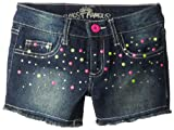 Almost Famous Girls 7-16 Denim Shorts with Neon Studs, Dark Night Wash, 8