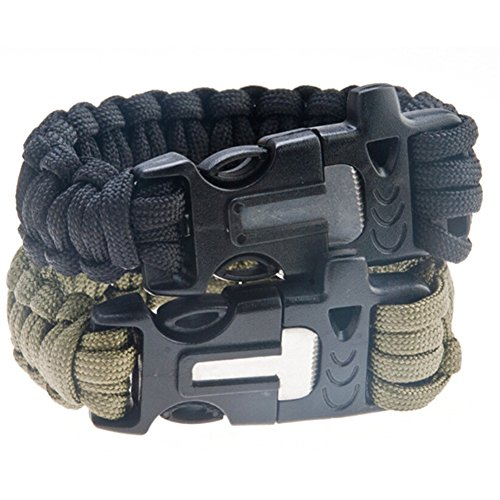 Fengbao Outdoor Survival Paracord Bracelet with Fire Starter Scraper Whistle Kits, Set of 2
