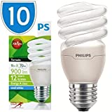 10x Philips Tornado CFL Energy Saver Light Bulb 15w = 70w CFL E27 841 ES Cool White 4100k Edison Screw Bulbs Lamps