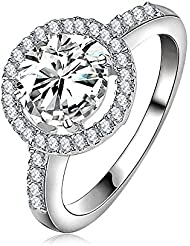 Jewels Galaxy Fashion New Women Round Circle Ring Platinum Plated AAA Zirconia Engagement Ring Wedding Party