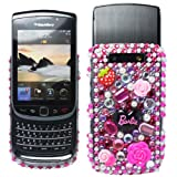 Cooltechstuff Hot Pink/Black Hard Fitted Case Cover/Gemstone Barbie Diamond Flower For Blackberry Torch 9800