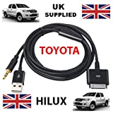 TOYOTA HILUX Compatible iPhone / iPad / iTouch 3.5mm Audio and USB Dock Cable / AUX Cable -- Apple Dock Connector to 3.5mm Audio AUX and USB Charge/ Compatible with all models of iPod, iPhone and iPad.