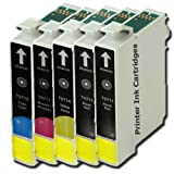 5 Compatible Printer Ink Cartridges To Replace T0715 - Cyan / Yellow / Magenta / Black- For use with Epson Stylus SX515W SX200 SX415 SX215 SX100 SX105 SX400 SX205 SX218 SX115 SX510W SX600FW SX405 S21 SX110 S20 SX210 SX410 SX610FW Wifi DX7450 DX4400 DX445