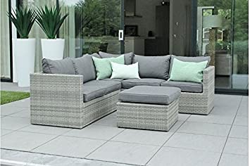 Au jardin de chloé - Salon canapé de jardin modulable avec table/pouf résine tressée Design - ZELIE - Gris beige - 6 places
