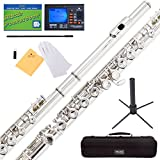 Mendini MFE-N+SD+PB+92D Nickel Plated Closed Hole C Flute with 1 Year Warranty, Case, Tuner, Stand, Cleaning Rod and Cloth, Grease, and Gloves