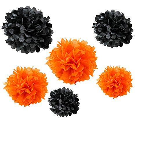 Somnr® Set of 12PCS Mixed Sizes Orange Black Tissue Paper Flower Pom Poms Pompoms Wedding Birthday Party Nursery (Black And Orange Party Decorations)