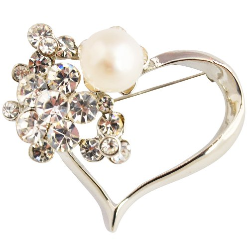 Pearl Brooch Pin,Gifts for Mother,Heart Pearl Brooch - Heart-Shaped 9mm White Fresh Water Pearl Brooch With Crystal (Br0081)