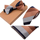 Fashion Polyster Skinny Neck ties and Bowtie Pocket Square 3pcs Set for Gifts 23