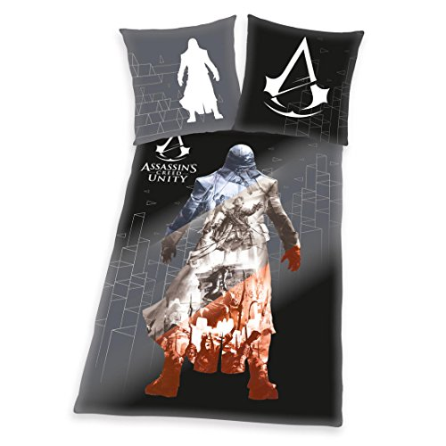 Herding - Set di biancheria da letto con motivo: Assassins Creed Unity, in cotone renforce, colore antracite, Cotone, multicolore, 135 x 200 cm
