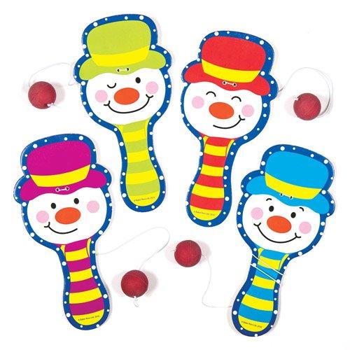 Racchette con elastico e pallina con allegri pupazzi di neve. Piccoli giocattoli, perfetti per riempire calze natalizie e sacchetti regalo per feste di bambini (confezione da 4)