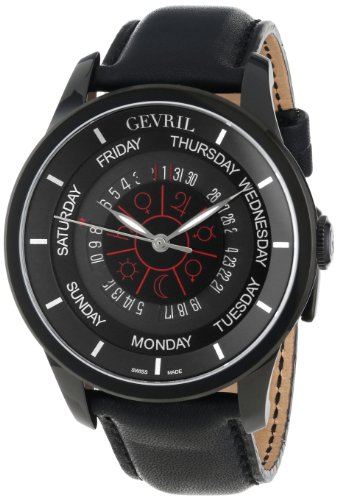 Gevril Men's 2001_Set Columbus Circle Automatic Black Leather Watch and Ballpoint Pen Watch Set