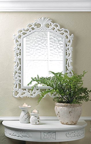 White Wooden Fleur-De-Lis Geometric Arched Wall Mirror