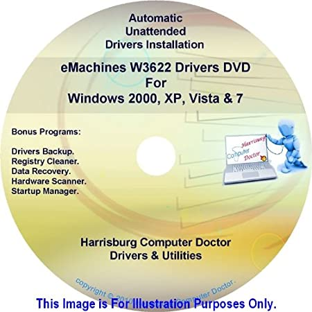 eMachines W3622 Drivers DVD Disc eMachine W3622 - Windows, XP, Vista and 7 Driver Kits - Automatic Drivers Installation.