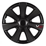 Style Auto AutoStyle PP5155B Set Wheel Covers VR 15-inch Black/Carbon-Look/Logo (Color: Black, Tamaño: 15