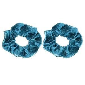 Ladies Teal Blue Velvet Hair Band Elastic Ponytail Holder 2 Pcs