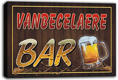 scw3-106430 VANBECELAERE Name Home Bar Pub Beer Mugs Cheers Stretched Canvas Print Sign