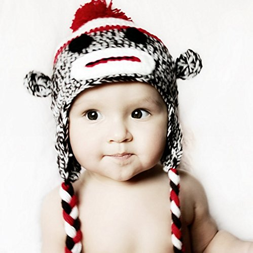 Made in US Handmade baby sock monkey hat - fits 0-3 Months