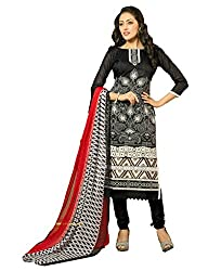 Suchi Fashion Embroidered Black & White Chanderi Dress Material