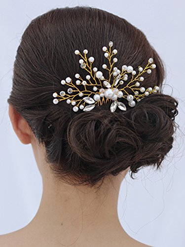 Venusvi Vintage Wedding Hair Combs with Bead and Rhinestones - Bridal Headpiece for Bridesmaids 1