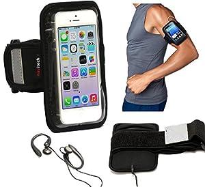 """Brassard Navitech en néoprène imperméable de couleur noir, pour jogging, gym ou autre activités physiques pour le Samsung Galaxy Note 2 N7100 5.5"""" Inch Phablet"""