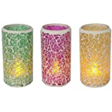 Star LED - Lanterns x 3, flickering, mosaic Material : glass, color: blue, green, pink, incl. batteries, ca. 10 x 5 cm four colour box with ,,,