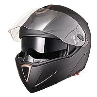 Yescom Full Face Flip up Modular Motorcycle Helmet DOT Approved Dual Visor Motocross Matt Black XL from Yescom