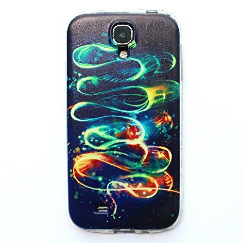 JIAXIUFEN Neue Modelle TPU Silikon Schutz Handy Hülle Case Tasche Etui Bumper für Samsung Galaxy S4 i9500 (Nicht für Galaxy S4 mini i9190/i9195) -Dancing Flame on Black Back Style