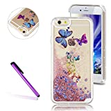 Cell Phones Accessories Best Deals - iPhone 6 Case, iPhone 6S Case, EMAXELER 3D Creative Design Flowing Liquid Floating Bling Shiny Butterfly Liquid Protective Polycarbonate Hard Case for iPhone 6/6S+Stylus Pen(Butterfly,Pink)