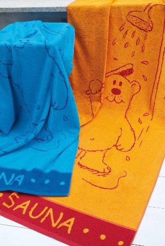 """Hochwertiges Saunatuch """"Saunabär"""" XXL 85x200 cm in Orange oder Blau , 100% Baumwolle - Strandtuch, Badetuch (Orange)"""