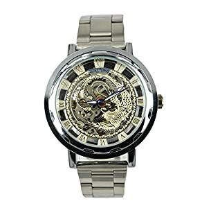 Gift In Box Sliver Phoenix Skeleton Dial Stainless Steel Strap Atomatic Mechanical Men's Watch G8119-06