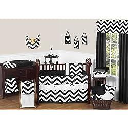 Sweet Jojo Designs Black and White Chevron ZigZag Baby Bedding 9 Piece Zig Zag Gender Neutral Boy or Girl Crib Set