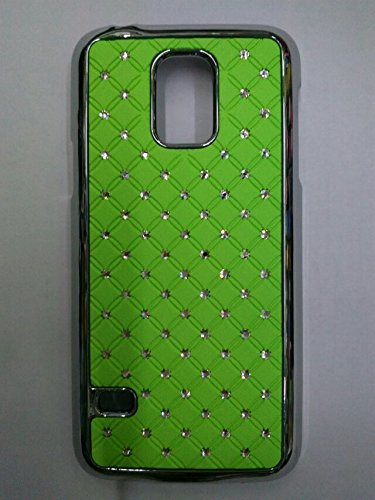 Maclogy 2014 Latest Fashion Design Luxury Dazzling Rhinestones Shiny Crystal Diamond Plating Protective Shell Trapped Difficult Cases Samsung Galaxy S5 I9600 And Fashion Chain Crystal Ornaments Color Uv Radiation Gifts (Green)
