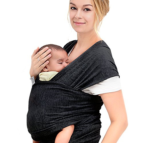 InnooBaby Baby Wrap Carrier Natural Cotton Nursing Baby Sling Suitable for Newborns to 35 lbs Lifetime Guarantee Breastfeeding Sling Soft Safe and Comfortable Nice Baby Shower Gift Black (Hot Tub Hat compare prices)