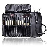12pc Studio Pro Makeup Make Up Cosmetic Brush Set Kit W/ Leather Case For Eye Shadow, Blush, Concealer, Etc
