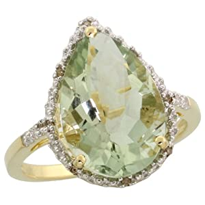 "10k Gold Teardrop Stone Ring w/ Brilliant Cut Diamonds & Pear Cut (15x10mm) Green Amethyst Stone, 11/16"" (17mm) wide, size 5"