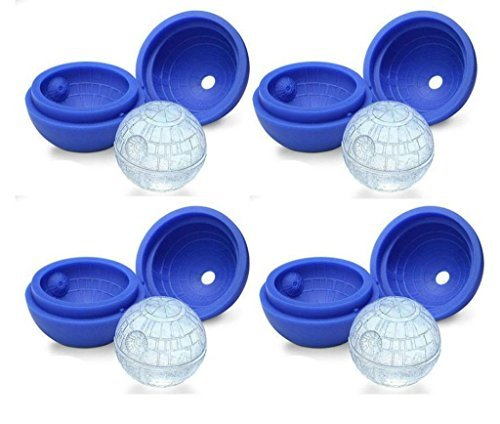 "ZEEES Death Star Silicone Ice Ball Maker Mold Tray 2.4"" inside diameter, 4 Pack"