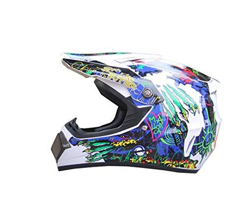 Dot Youth and Kids Motocross Offroad Street Helmet Motorcycle Helmet Bike Helmet (Large, White)