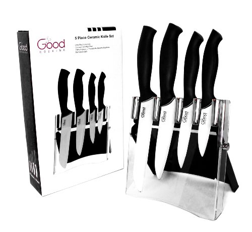 Ceramic Knife Set with Block- 5 Pc Cutlery Ceramic Knives Set By Good Cooking (Black Handles)