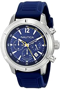 Nautica Men's N17652G Stainless Steel Watch with Blue Band