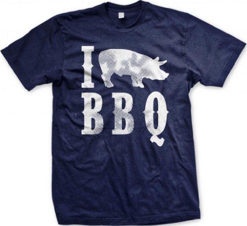 I Love BBQ Men'S T-Shirt, Funny Bar-B-Que I Pig BBQ Design Design Men'S Tee (Navy Blue, Large)