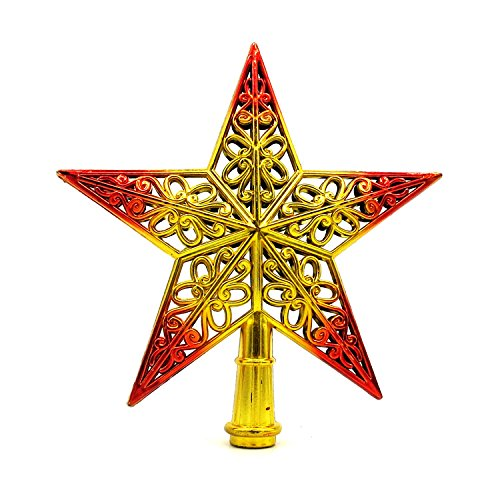 Stereo hollow Christmas tree top star quality Christmas tree star Christmas ornament gift , 4pcs , red