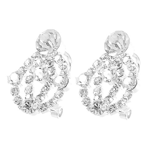 Rosallini Woman Glittery Rhinestone Detailing Earbob Pierced Earrings Gift Pair