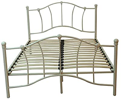 High Quality Contemporary Double 4FT6 Cream Metal Bed Frame