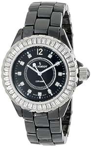 Peugeot Women's PS4885BK Swiss Ceramic Swarovski Crystal Black Dial Watch